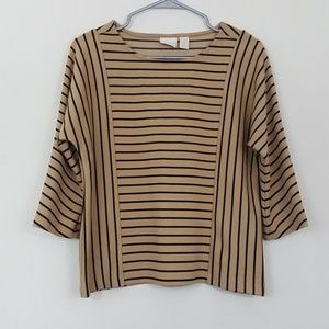 Chico's Tan & Black Striped Top 3/4 Sleeves 0 / S